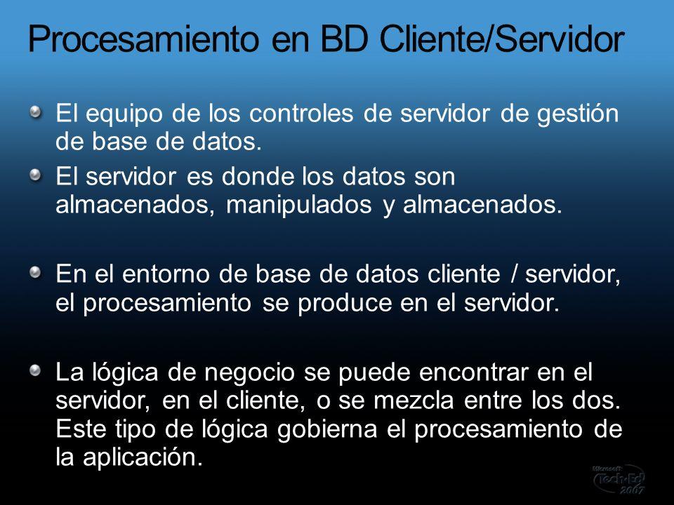 El equipo de los controles de servidor de gestión de base de datos.