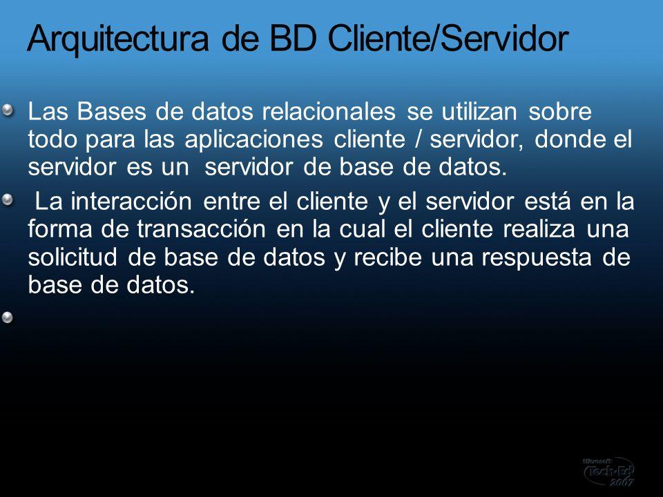Las Bases de datos relacionales se utilizan sobre todo para las aplicaciones cliente / servidor, donde el servidor es un servidor de base de datos.