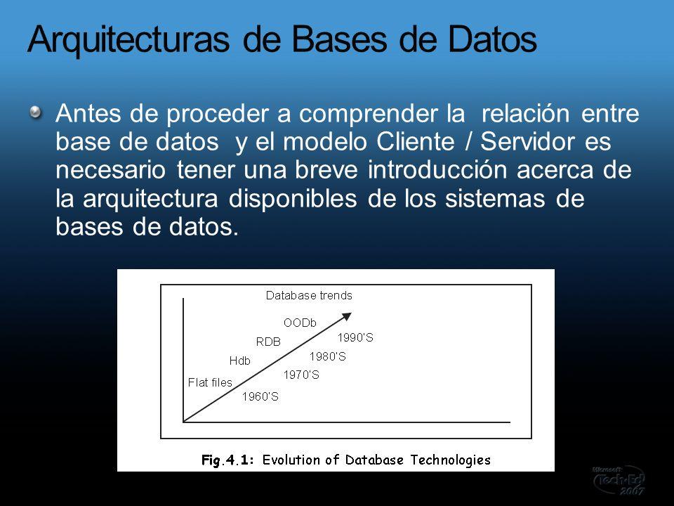 Antes de proceder a comprender la relación entre base de datos y el modelo Cliente / Servidor es necesario tener una breve introducción acerca de la arquitectura disponibles de los sistemas de bases de datos.