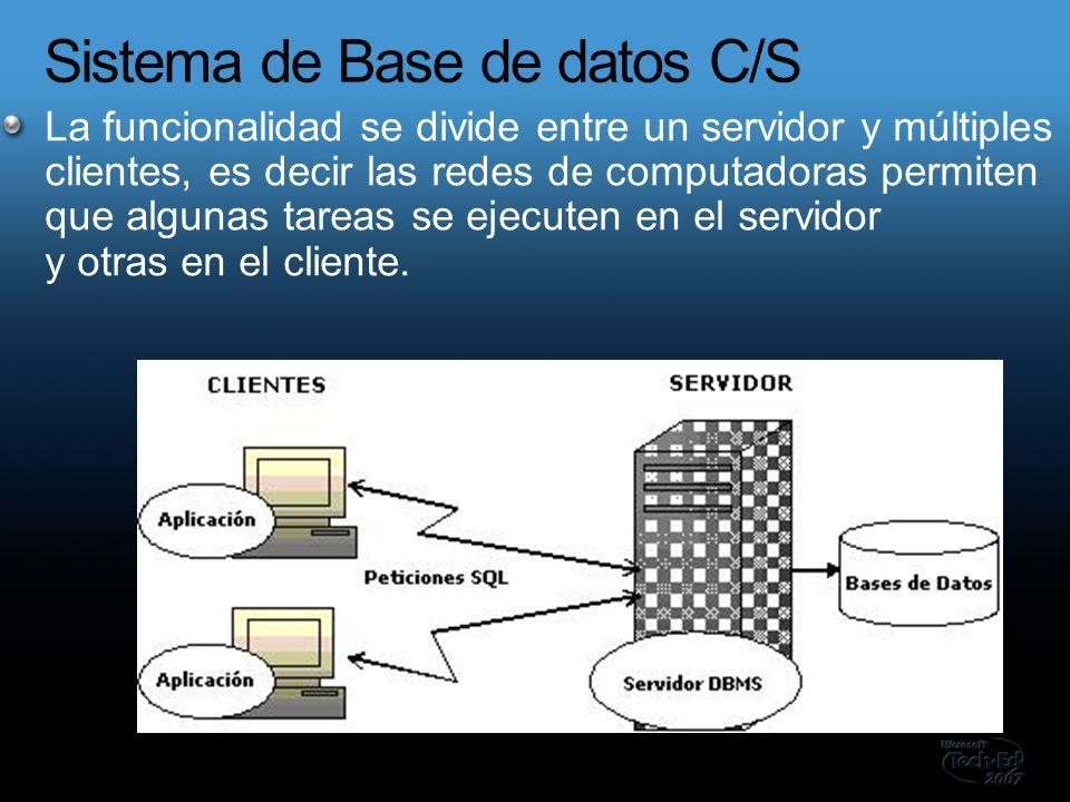 La funcionalidad se divide entre un servidor y múltiples clientes, es decir las redes de computadoras permiten que algunas tareas se ejecuten en el servidor y otras en el cliente.