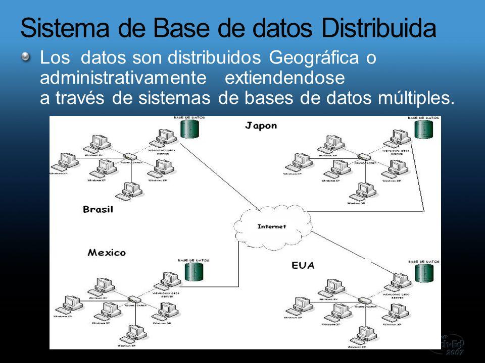 Los datos son distribuidos Geográfica o administrativamente extiendendose a través de sistemas de bases de datos múltiples.
