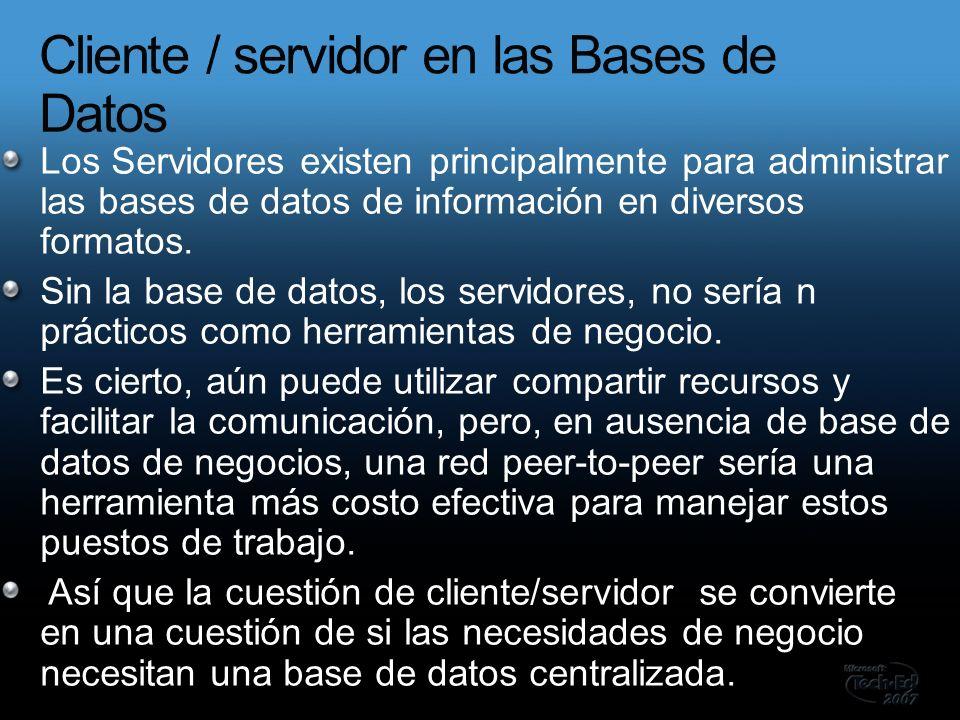 Los Servidores existen principalmente para administrar las bases de datos de información en diversos formatos.