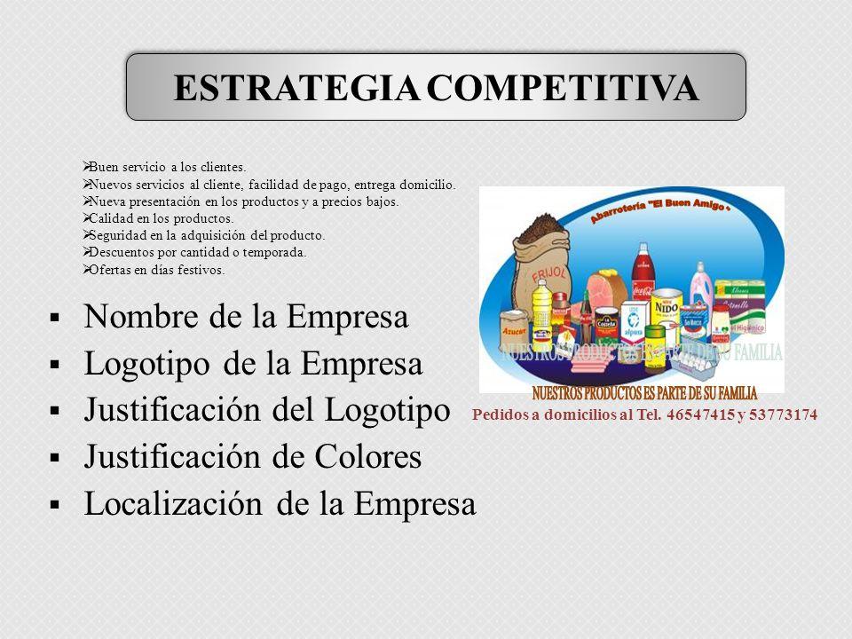 Nombre de la Empresa Logotipo de la Empresa Justificación del Logotipo Justificación de Colores Localización de la Empresa Pedidos a domicilios al Tel