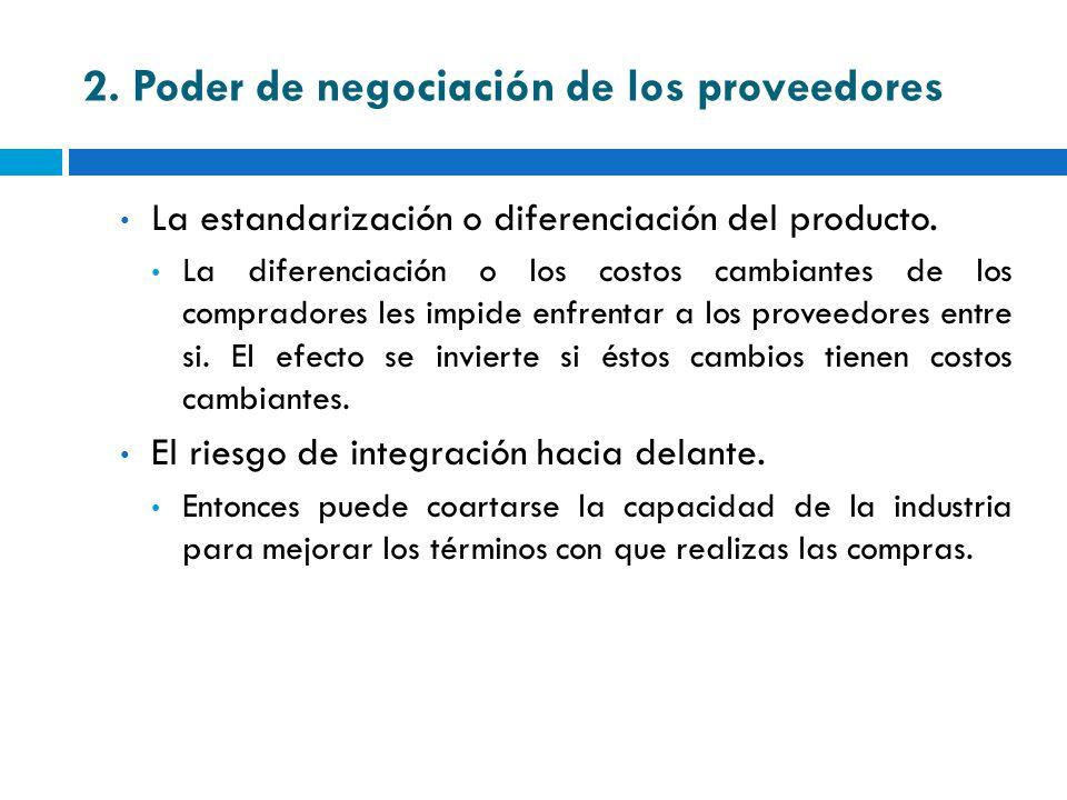 2. Poder de negociación de los proveedores La estandarización o diferenciación del producto. La diferenciación o los costos cambiantes de los comprado