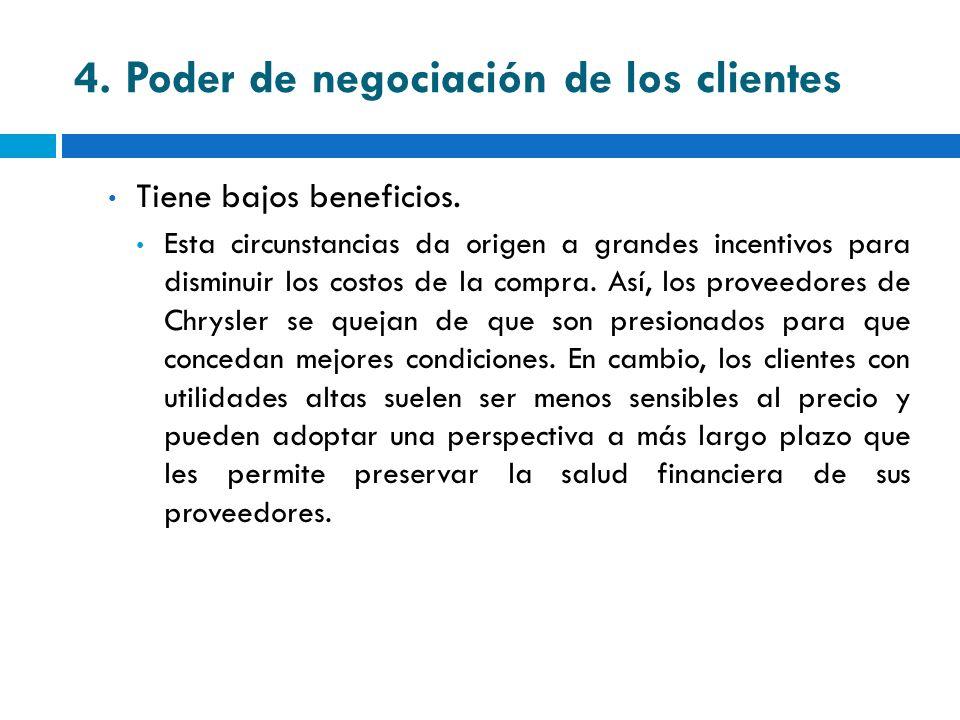 4. Poder de negociación de los clientes Tiene bajos beneficios. Esta circunstancias da origen a grandes incentivos para disminuir los costos de la com
