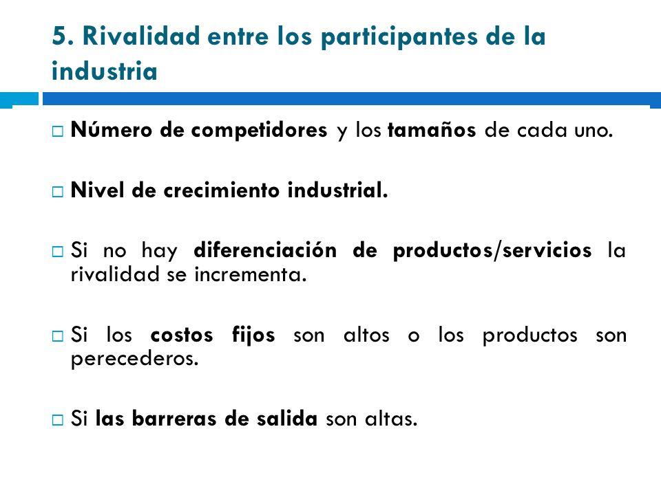 5. Rivalidad entre los participantes de la industria Número de competidores y los tamaños de cada uno. Nivel de crecimiento industrial. Si no hay dife