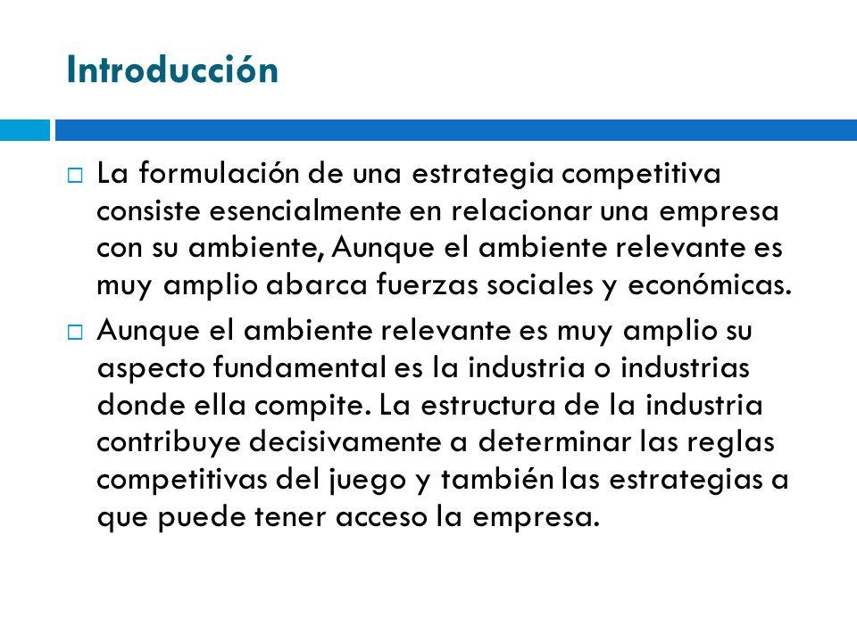 Introducción La formulación de una estrategia competitiva consiste esencialmente en relacionar una empresa con su ambiente, Aunque el ambiente relevan