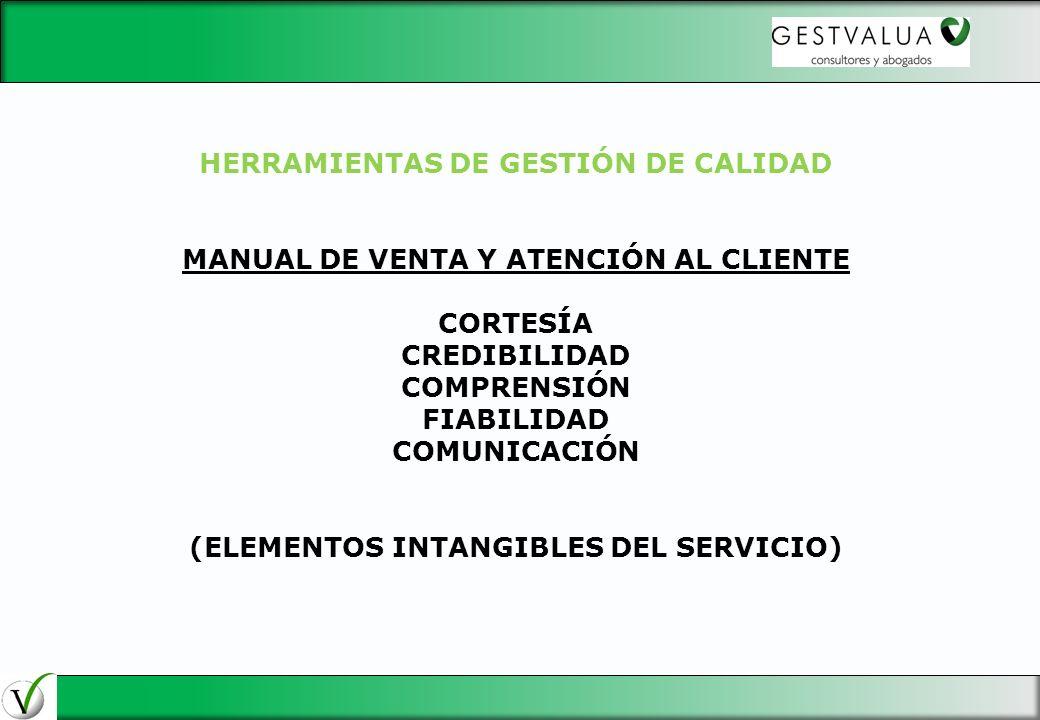 HERRAMIENTAS DE GESTIÓN DE CALIDAD MANUAL DE VENTA Y ATENCIÓN AL CLIENTE CORTESÍA CREDIBILIDAD COMPRENSIÓN FIABILIDAD COMUNICACIÓN (ELEMENTOS INTANGIB