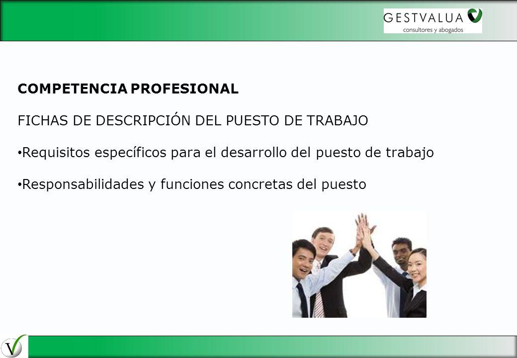 COMPETENCIA PROFESIONAL FICHAS DE DESCRIPCIÓN DEL PUESTO DE TRABAJO Requisitos específicos para el desarrollo del puesto de trabajo Responsabilidades