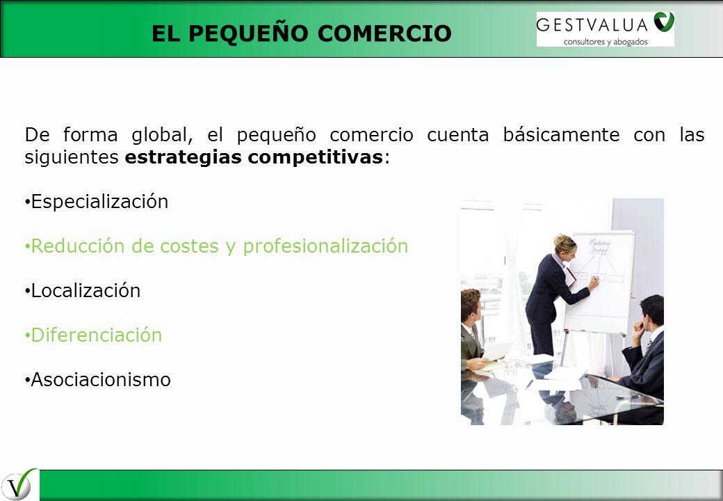 De forma global, el pequeño comercio cuenta básicamente con las siguientes estrategias competitivas: Especialización Reducción de costes y profesional
