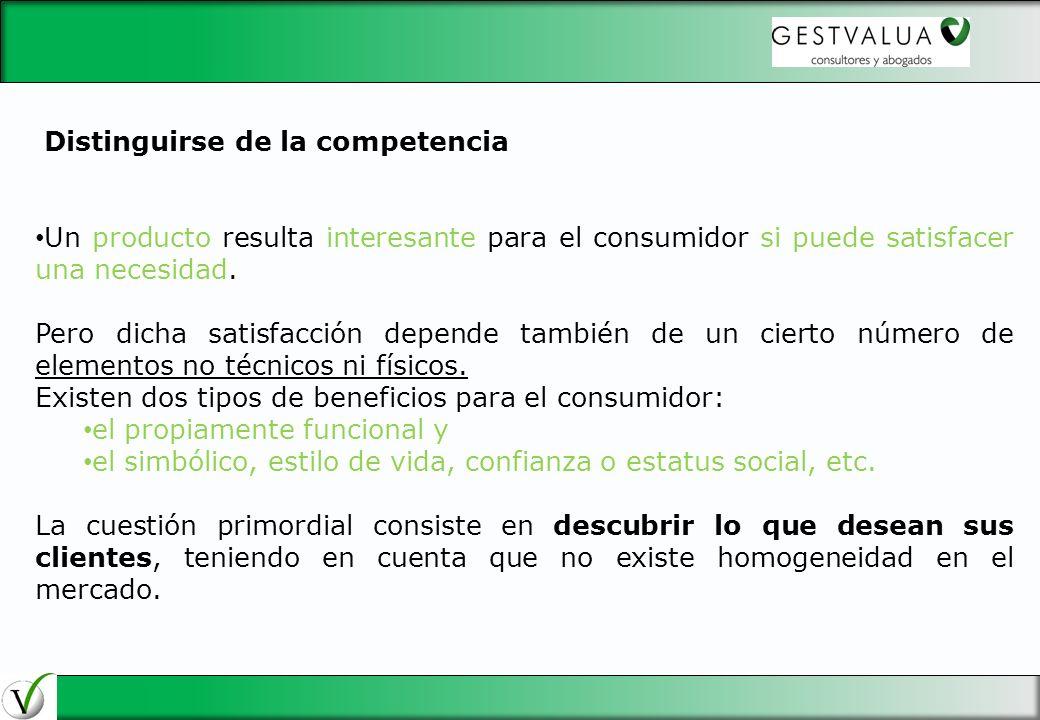 Distinguirse de la competencia Un producto resulta interesante para el consumidor si puede satisfacer una necesidad. Pero dicha satisfacción depende t
