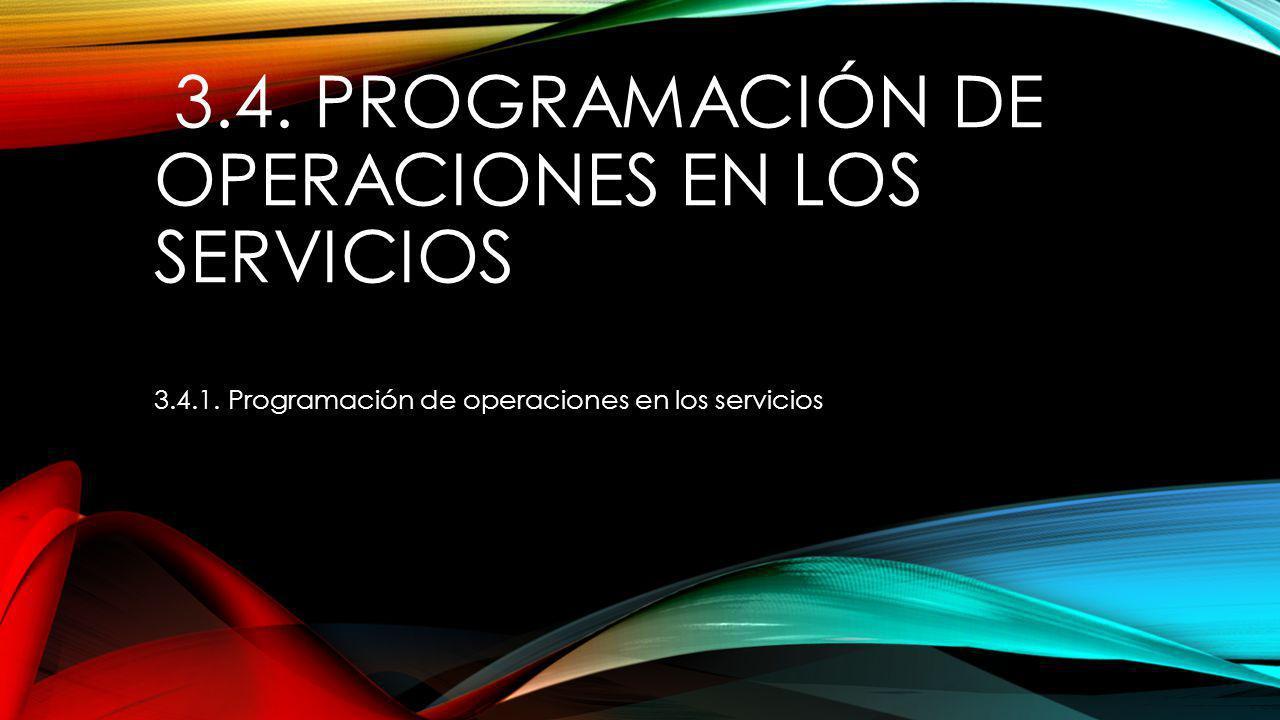 3.4. PROGRAMACIÓN DE OPERACIONES EN LOS SERVICIOS 3.4.1. Programación de operaciones en los servicios