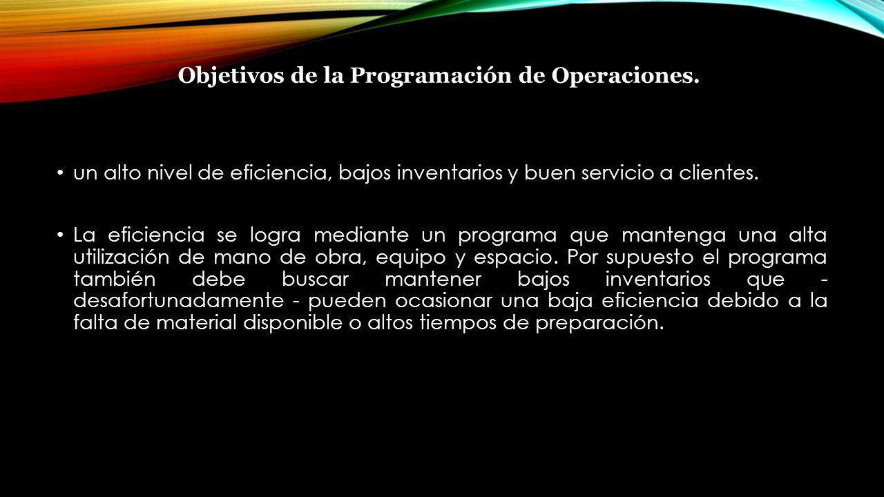 Objetivos de la Programación de Operaciones. un alto nivel de eficiencia, bajos inventarios y buen servicio a clientes. La eficiencia se logra mediant