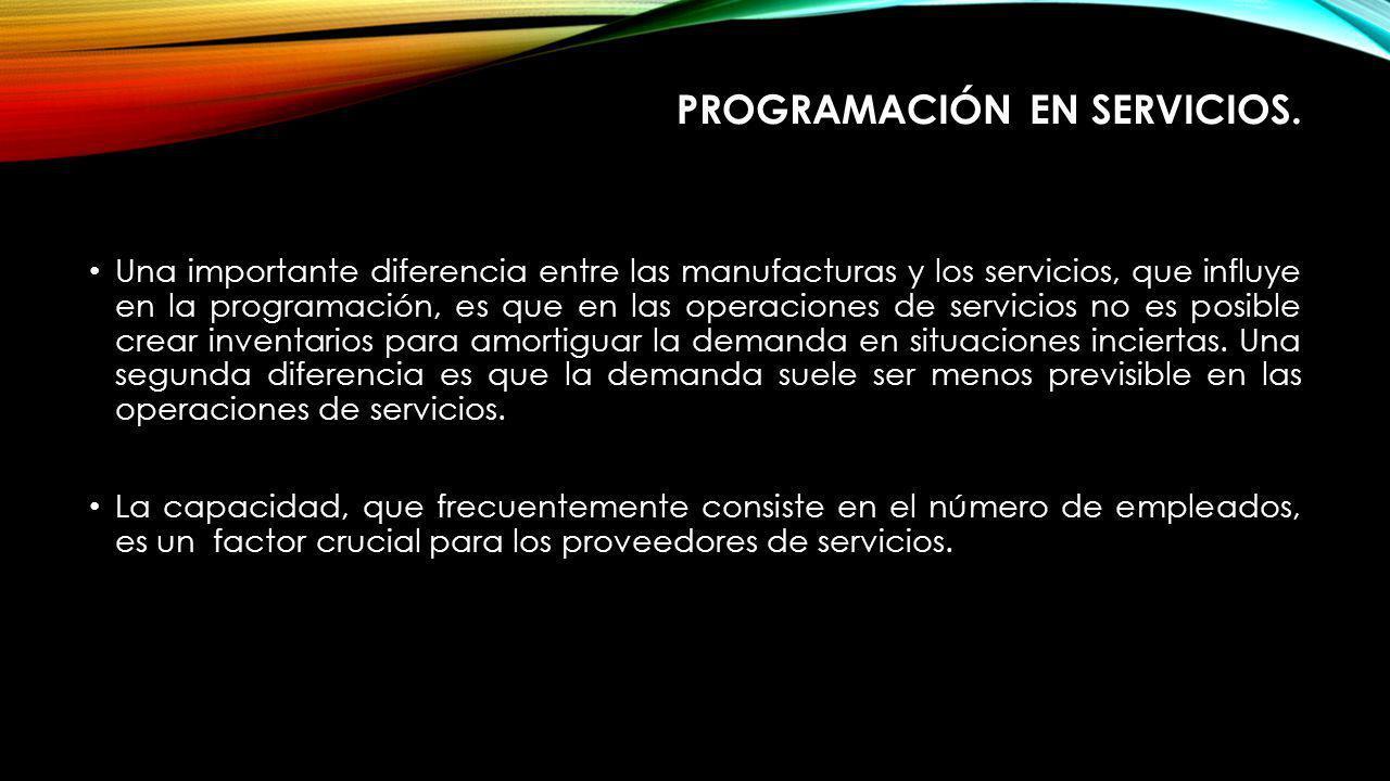 PROGRAMACIÓN EN SERVICIOS. Una importante diferencia entre las manufacturas y los servicios, que influye en la programación, es que en las operaciones