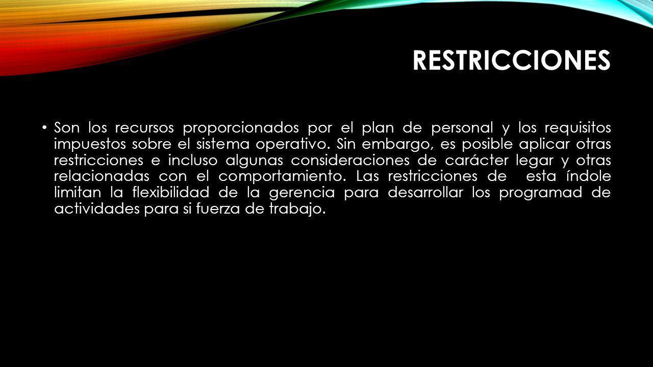 RESTRICCIONES Son los recursos proporcionados por el plan de personal y los requisitos impuestos sobre el sistema operativo. Sin embargo, es posible a