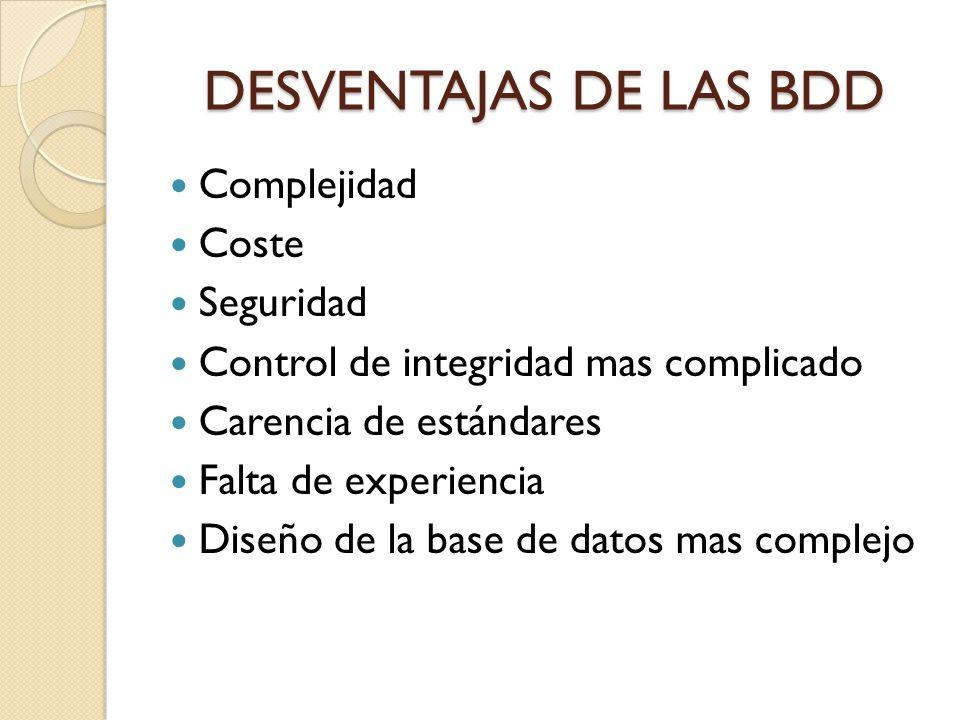 DESVENTAJAS DE LAS BDD Complejidad Coste Seguridad Control de integridad mas complicado Carencia de estándares Falta de experiencia Diseño de la base