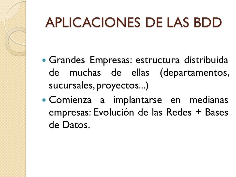 APLICACIONES DE LAS BDD Grandes Empresas: estructura distribuida de muchas de ellas (departamentos, sucursales, proyectos...) Comienza a implantarse e