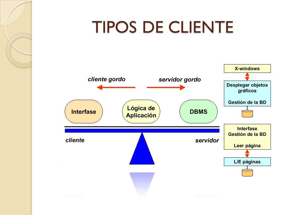 TIPOS DE SERVIDOR Servidores de archivos Servidores de bases de datos Servidores de transacciones Servidores de Groupware Servidores de objetos Servidores Web