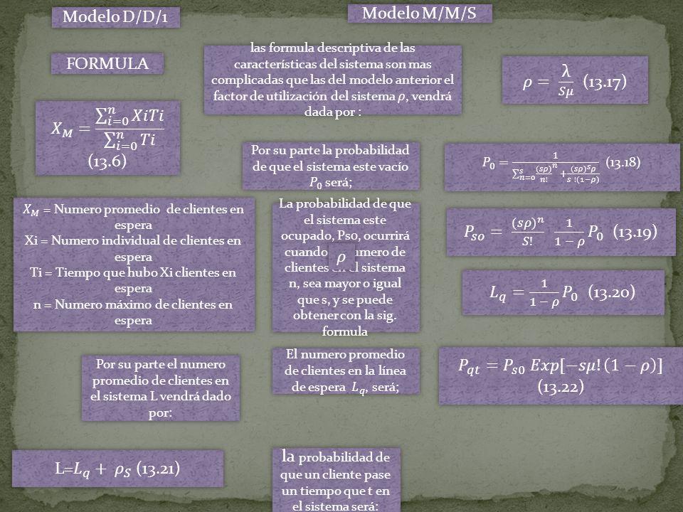 Modelo D/D/1 FORMULA Modelo M/M/S La probabilidad de que el sistema este ocupado, Ps0, ocurrirá cuando el numero de clientes en el sistema n, sea mayo