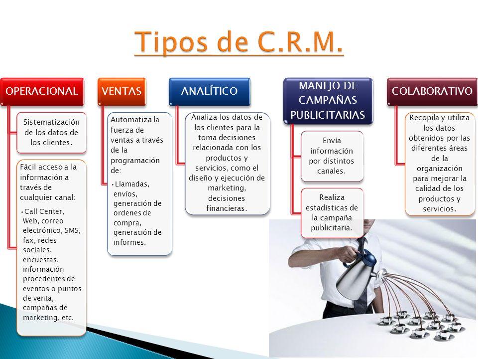 OPERACIONAL Sistematización de los datos de los clientes. Fácil acceso a la información a través de cualquier canal: Call Center, Web, correo electrón
