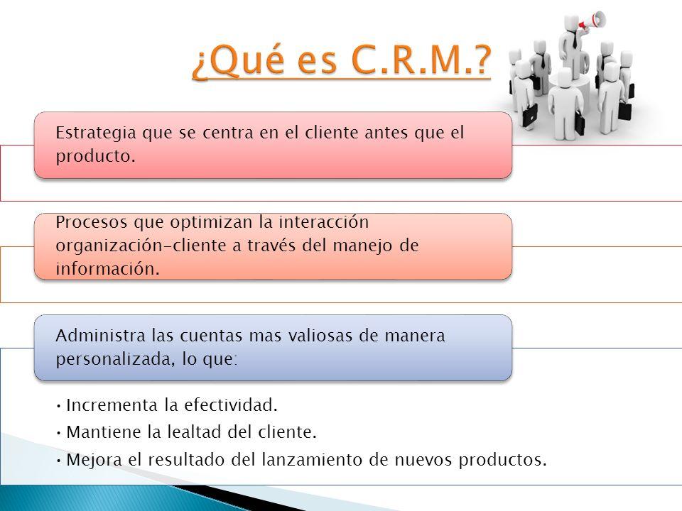 Estrategia que se centra en el cliente antes que el producto. Procesos que optimizan la interacción organización-cliente a través del manejo de inform