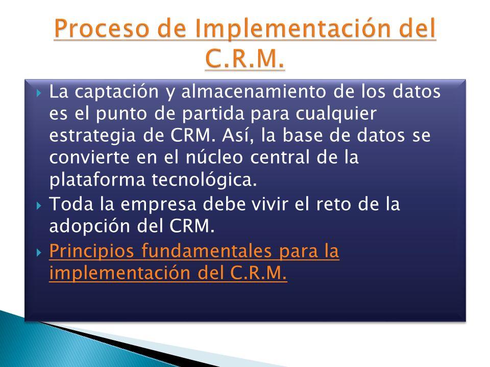 La captación y almacenamiento de los datos es el punto de partida para cualquier estrategia de CRM. Así, la base de datos se convierte en el núcleo ce