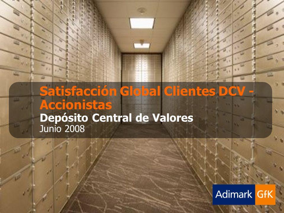 Junio 2008 Satisfacción Global Clientes - AccionistasDepósito Central de ValoresAdimarkQuality-GfK 22 Satisfacción Infraestructura Según Atributos Específicos 148142150148149 146149148149