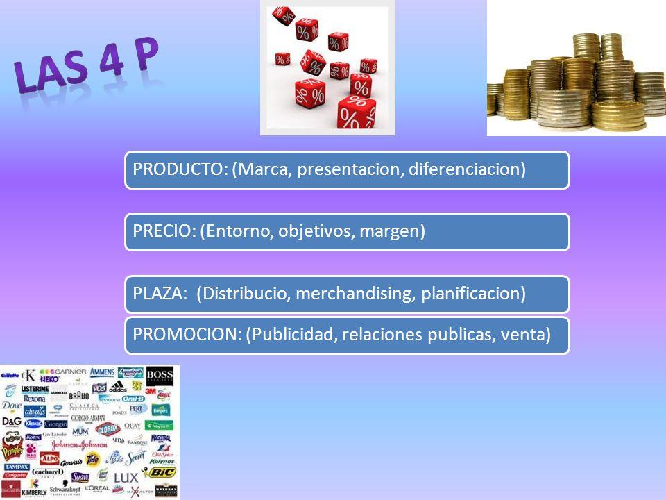 PRODUCTO: (Marca, presentacion, diferenciacion)PRECIO: (Entorno, objetivos, margen)PLAZA: (Distribucio, merchandising, planificacion)PROMOCION: (Publi