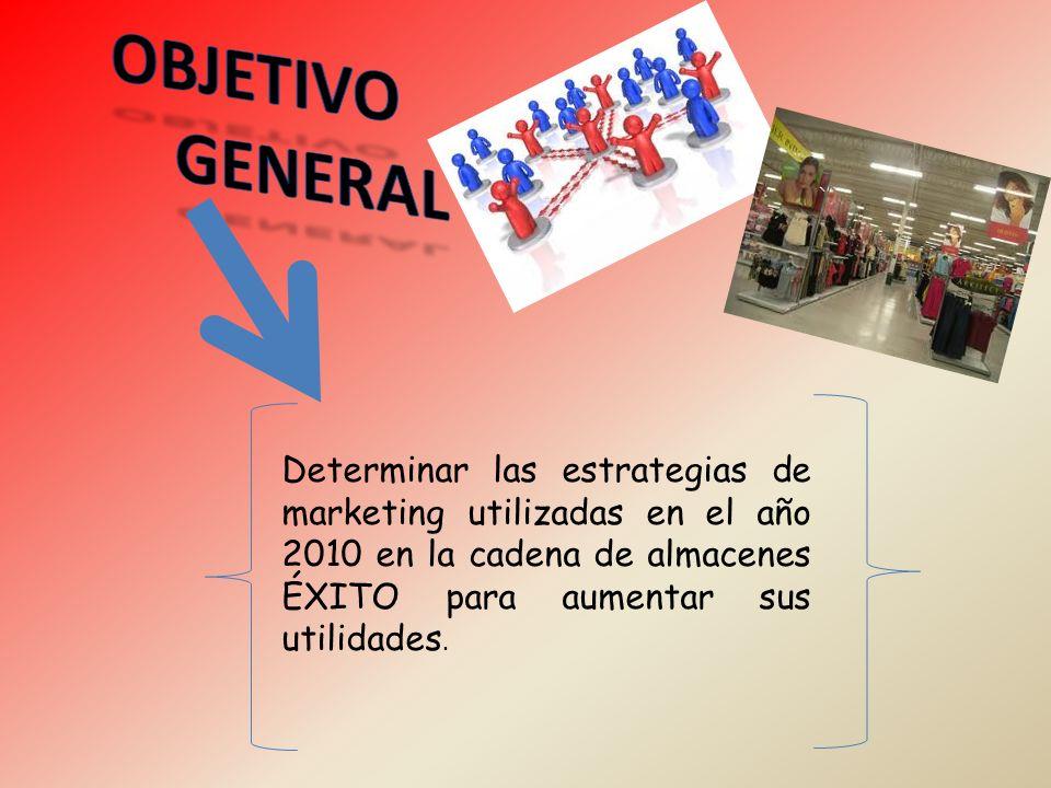 Determinar las estrategias de marketing utilizadas en el año 2010 en la cadena de almacenes ÉXITO para aumentar sus utilidades.
