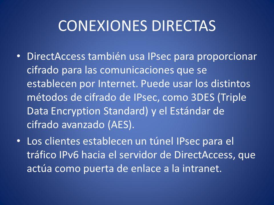 CONEXIONES DIRECTAS DirectAccess también usa IPsec para proporcionar cifrado para las comunicaciones que se establecen por Internet. Puede usar los di