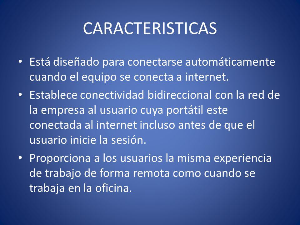 CARACTERISTICAS Está diseñado para conectarse automáticamente cuando el equipo se conecta a internet. Establece conectividad bidireccional con la red