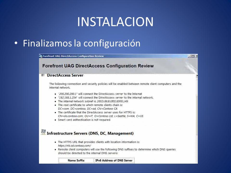 INSTALACION Finalizamos la configuración