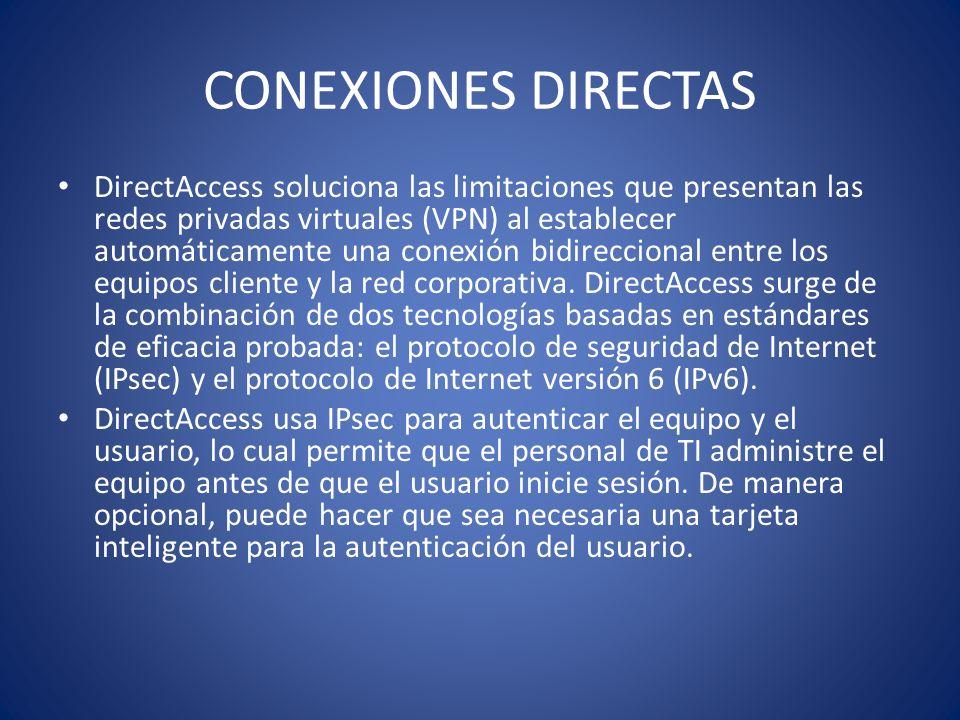 CONEXIONES DIRECTAS DirectAccess soluciona las limitaciones que presentan las redes privadas virtuales (VPN) al establecer automáticamente una conexió