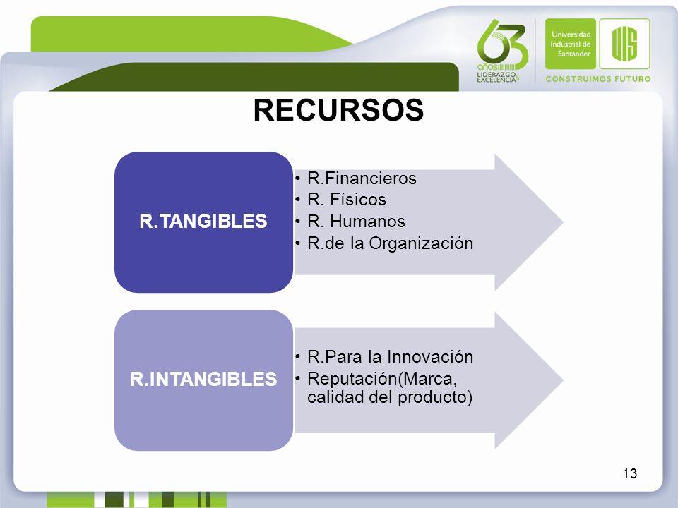 RECURSOS 13 R.Financieros R. Físicos R. Humanos R.de la Organización R.TANGIBLES R.Para la Innovación Reputación(Marca, calidad del producto) R.INTANG