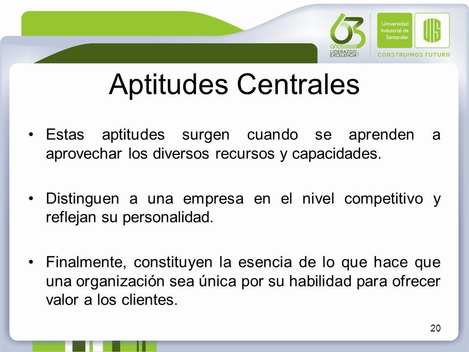 Aptitudes Centrales Estas aptitudes surgen cuando se aprenden a aprovechar los diversos recursos y capacidades. Distinguen a una empresa en el nivel c