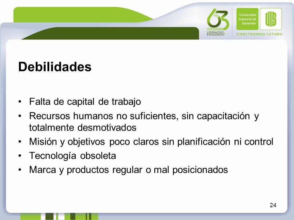 Debilidades Falta de capital de trabajo Recursos humanos no suficientes, sin capacitación y totalmente desmotivados Misión y objetivos poco claros sin