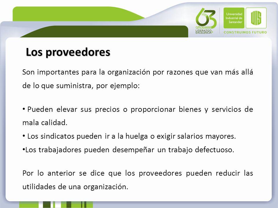 Los proveedores Son importantes para la organización por razones que van más allá de lo que suministra, por ejemplo: Pueden elevar sus precios o propo
