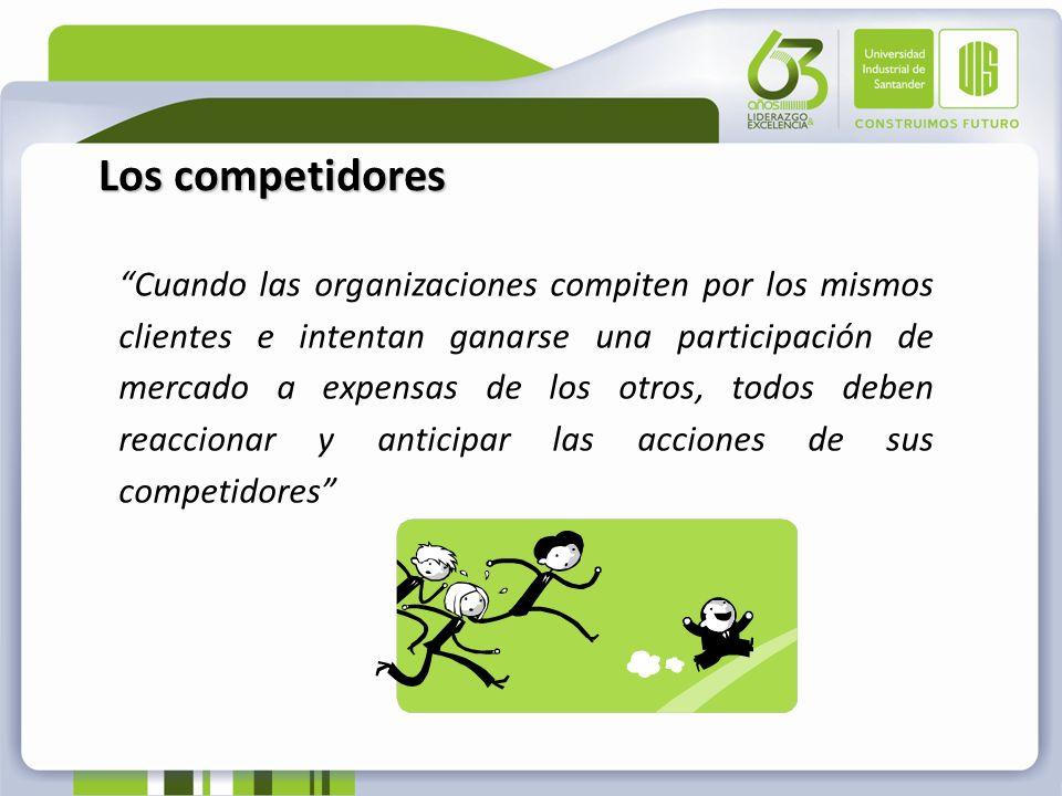 Los competidores Cuando las organizaciones compiten por los mismos clientes e intentan ganarse una participación de mercado a expensas de los otros, t