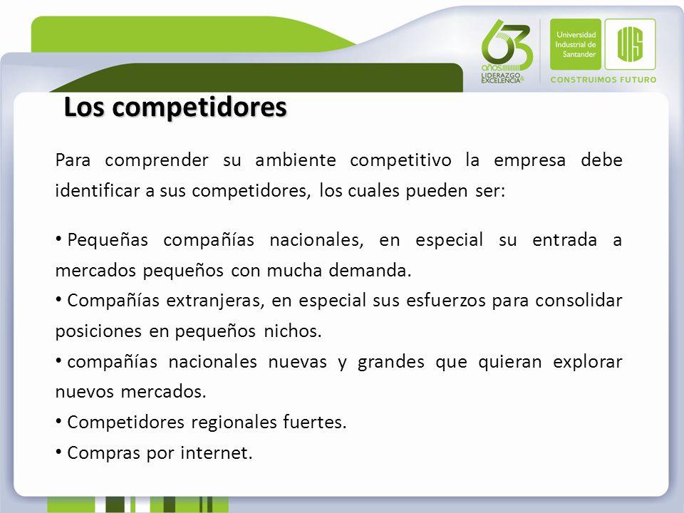 Para comprender su ambiente competitivo la empresa debe identificar a sus competidores, los cuales pueden ser: Pequeñas compañías nacionales, en espec