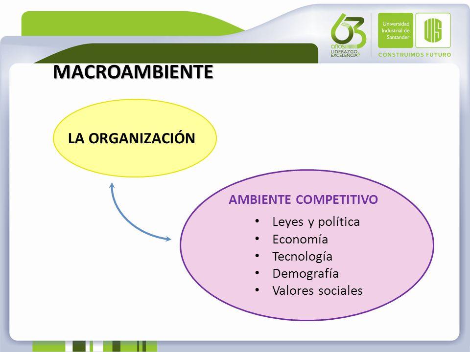 MACROAMBIENTE LA ORGANIZACIÓN AMBIENTE COMPETITIVO Leyes y política Economía Tecnología Demografía Valores sociales