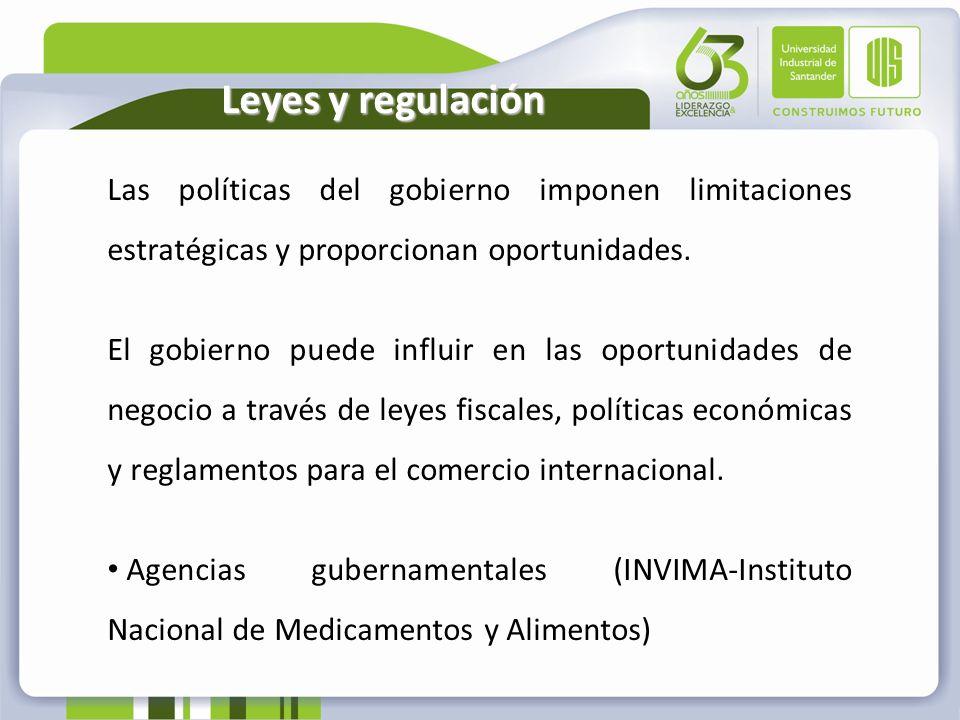 Leyes y regulación Las políticas del gobierno imponen limitaciones estratégicas y proporcionan oportunidades. El gobierno puede influir en las oportun