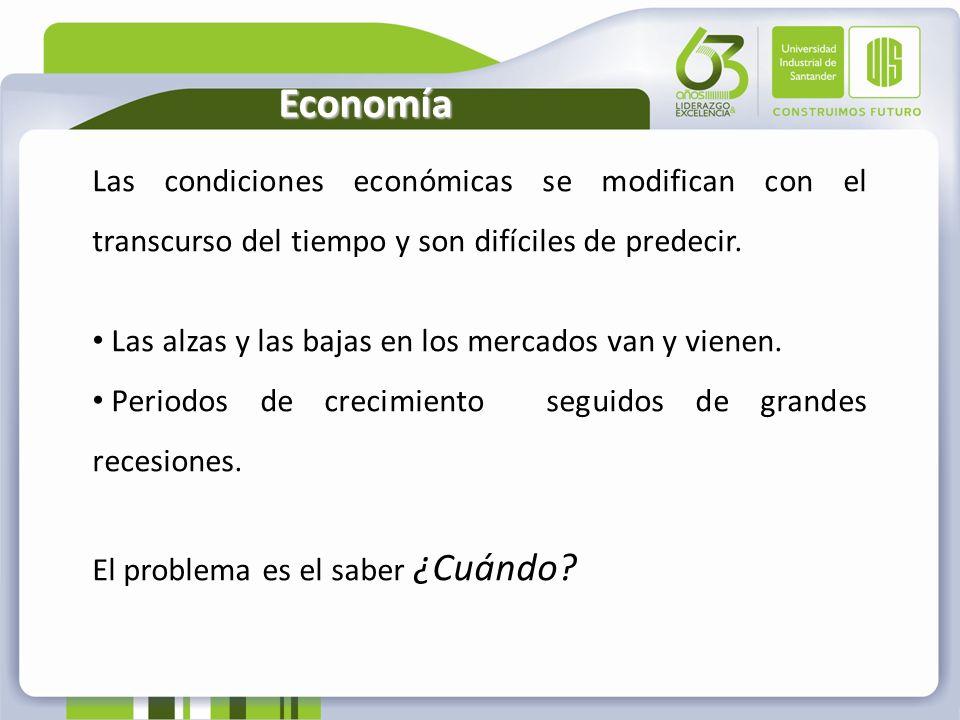 Economía Las condiciones económicas se modifican con el transcurso del tiempo y son difíciles de predecir. Las alzas y las bajas en los mercados van y