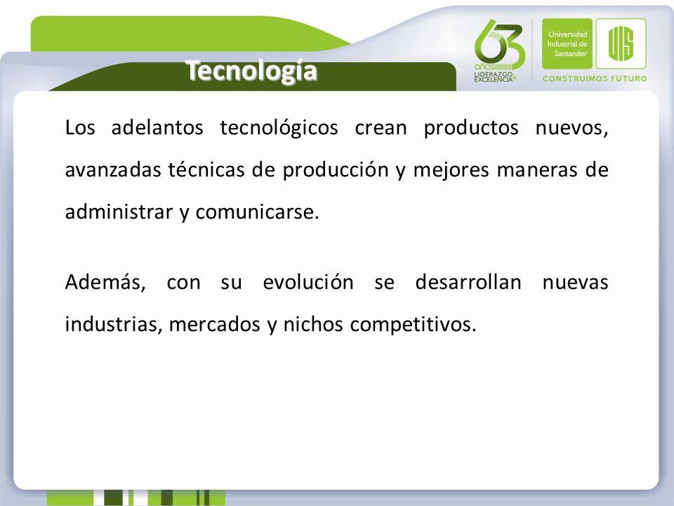 Tecnología Los adelantos tecnológicos crean productos nuevos, avanzadas técnicas de producción y mejores maneras de administrar y comunicarse. Además,
