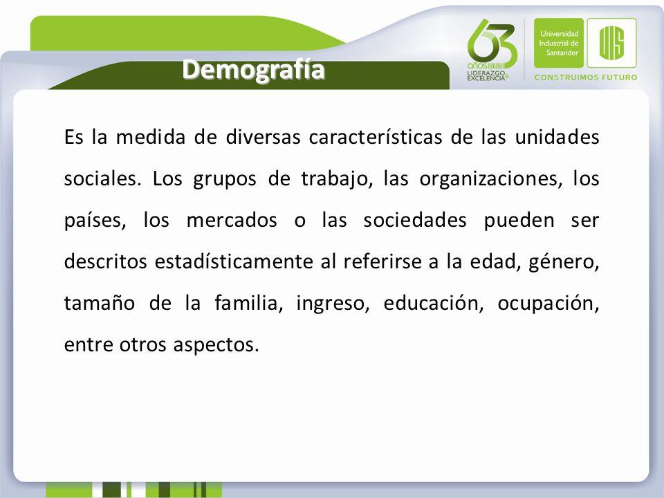 Demografía Es la medida de diversas características de las unidades sociales. Los grupos de trabajo, las organizaciones, los países, los mercados o la