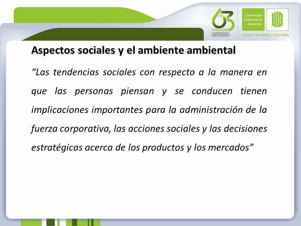 Aspectos sociales y el ambiente ambiental Las tendencias sociales con respecto a la manera en que las personas piensan y se conducen tienen implicacio