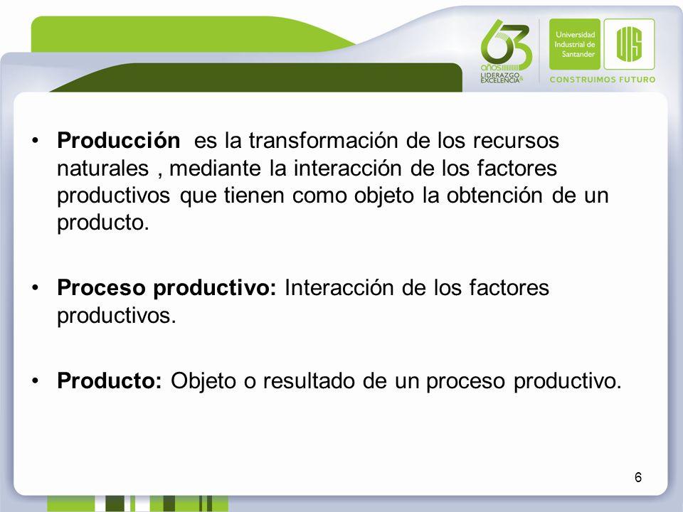 Producción es la transformación de los recursos naturales, mediante la interacción de los factores productivos que tienen como objeto la obtención de