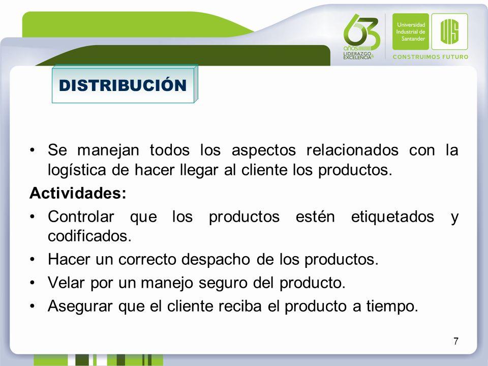 Se manejan todos los aspectos relacionados con la logística de hacer llegar al cliente los productos. Actividades: Controlar que los productos estén e