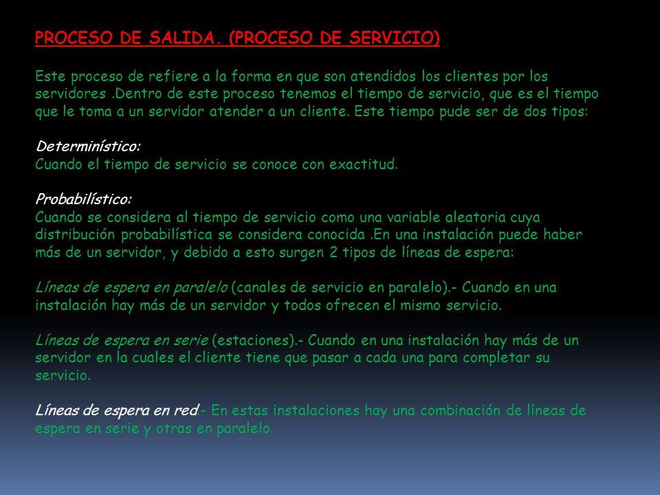 PROCESO DE SALIDA. (PROCESO DE SERVICIO) Este proceso de refiere a la forma en que son atendidos los clientes por los servidores.Dentro de este proces
