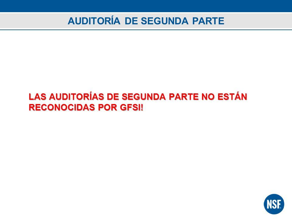 AUDITORÍA DE SEGUNDA PARTE LAS AUDITORÍAS DE SEGUNDA PARTE NO ESTÁN RECONOCIDAS POR GFSI!