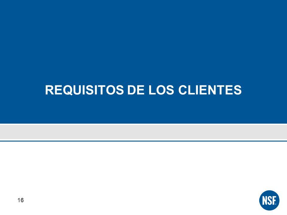 REQUISITOS DE LOS CLIENTES 16